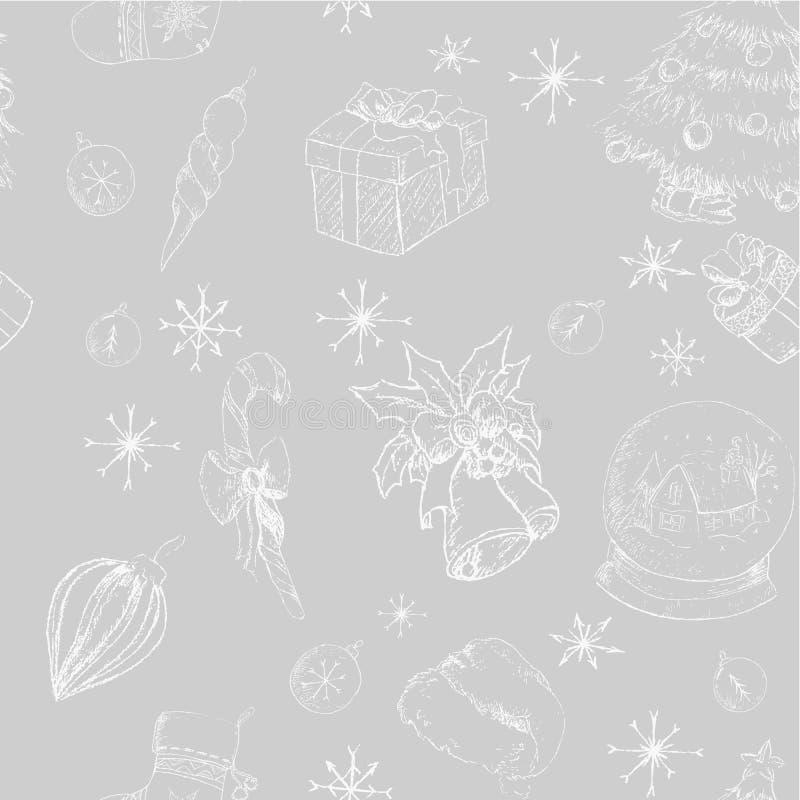 Gray disegnato a mano senza cuciture del backgrownd di natale fotografia stock