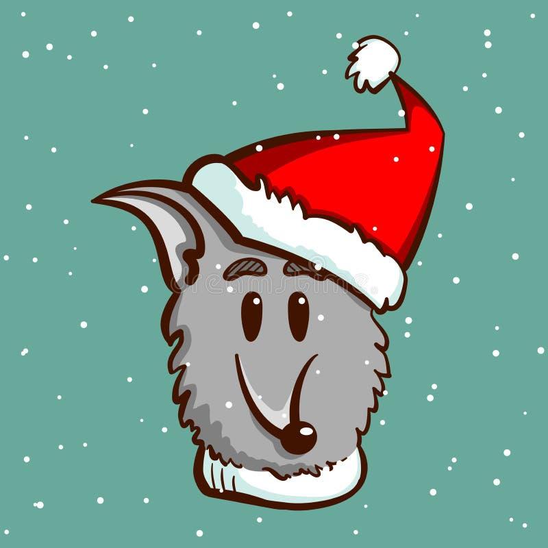 Gray Dog On Snowy Background ilustração stock