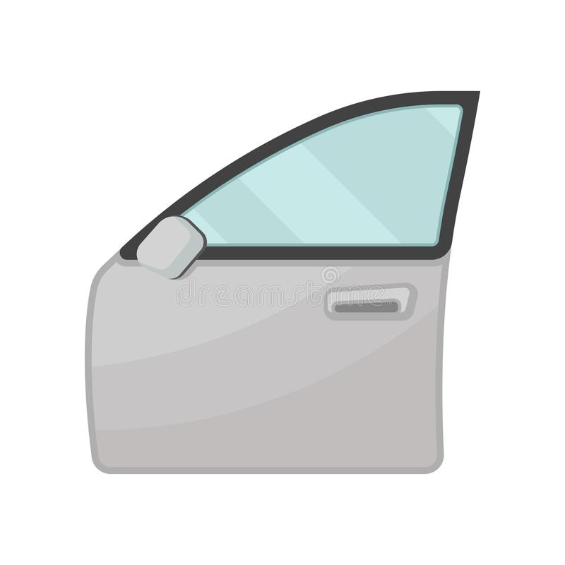 Gray door of motor car with blue glass and rear view mirror. Auto parts theme. Flat vector for poster of automobile royalty free illustration