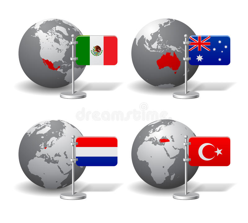 Gray earth globes with designation of mexico australia netherlands download gray earth globes with designation of mexico australia netherlands and turkey stock vector publicscrutiny Image collections