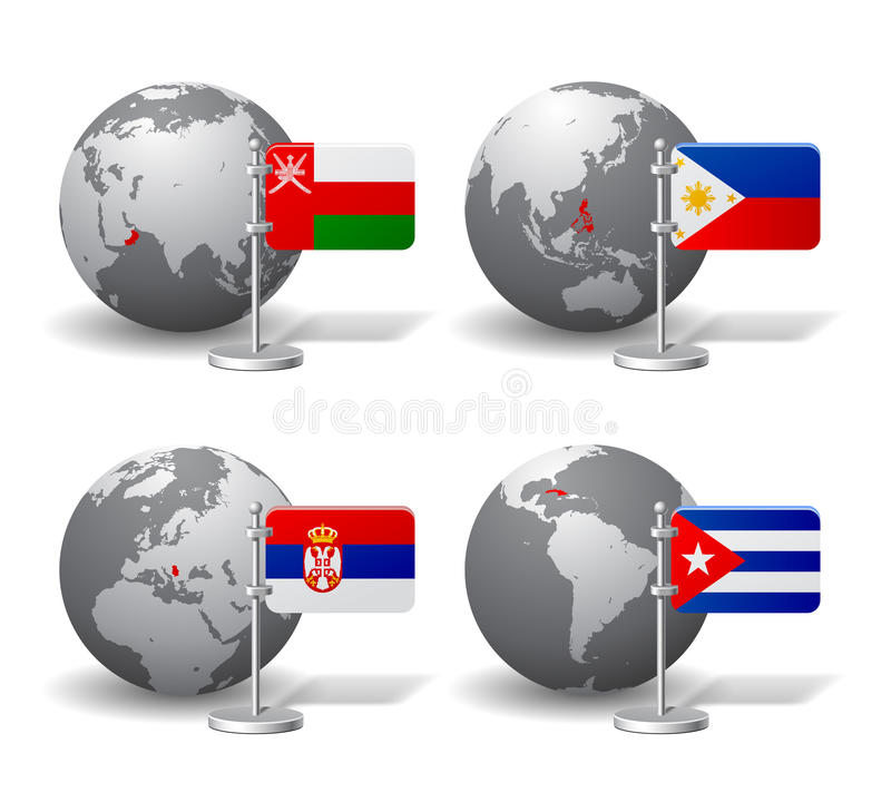 Gray Earth globes with designation of Oman, Philippines, Serbia. And Cuba, with state flags. There is in addition a vector format EPS 10 royalty free illustration