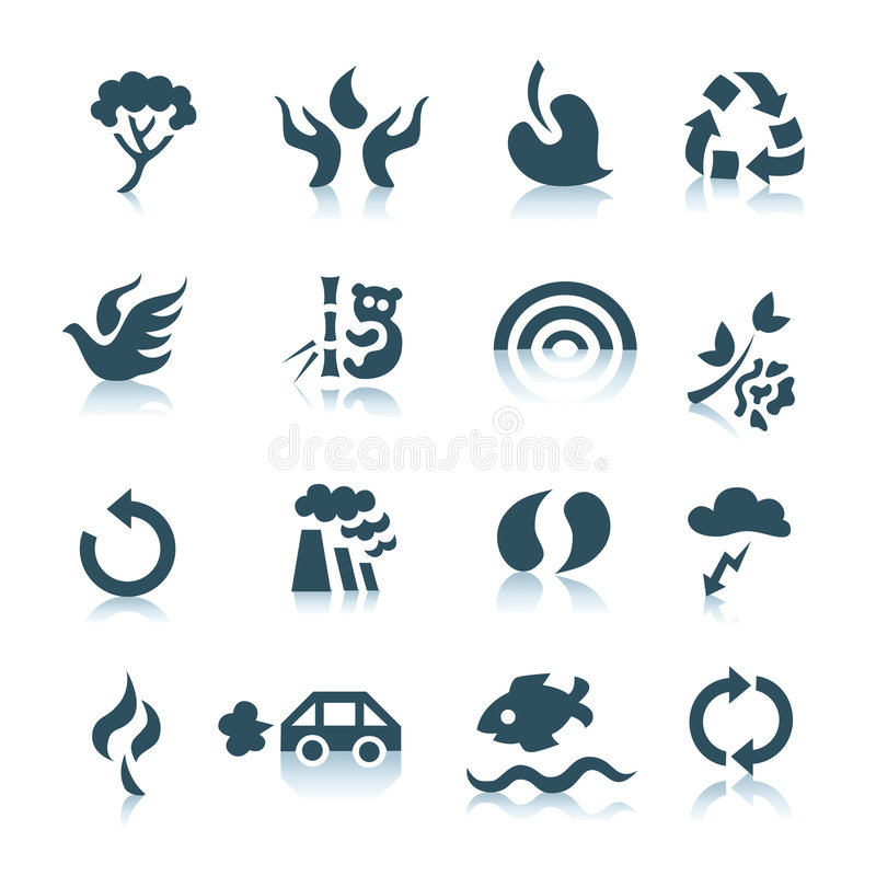 Gray ecology icons. Ecology icons with reflections on white background stock illustration