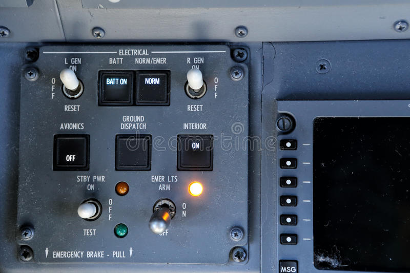 Gray Electrical Control Panel With Switches And Buttons Stock ...