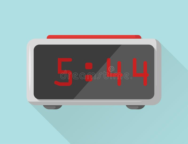 Gray electronic alarm clock on a blue background vector illustration