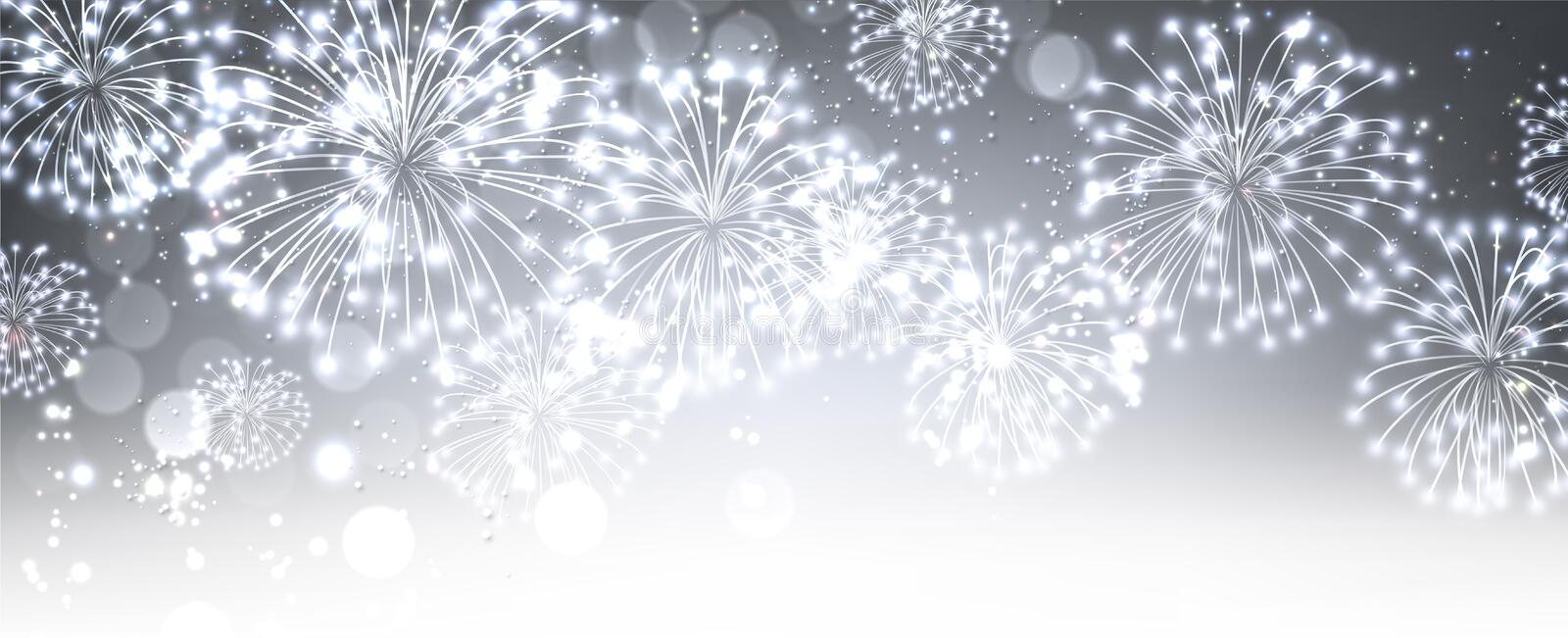 Gray festive banner with fireworks. Gray festive luminous banner with fireworks. Vector illustration royalty free illustration