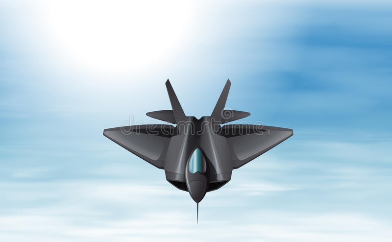 A gray fighter jet in the sky. Illustration of a gray fighter jet in the sky vector illustration