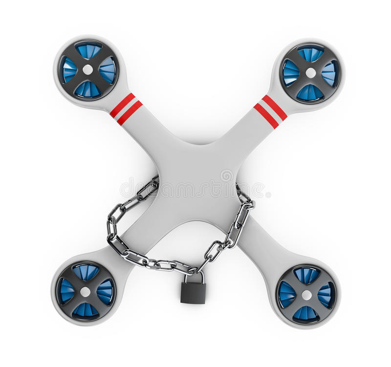 A Gray flat drone quadrocopter locked for use, 3d Illustration isolated white vector illustration