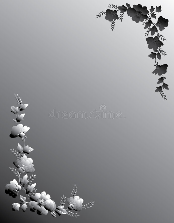 Gray floral frame on gray vector illustration