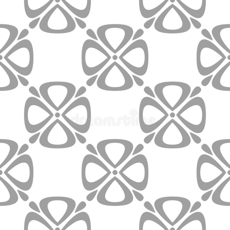 Gray floral pattern on white. Seamless background vector illustration