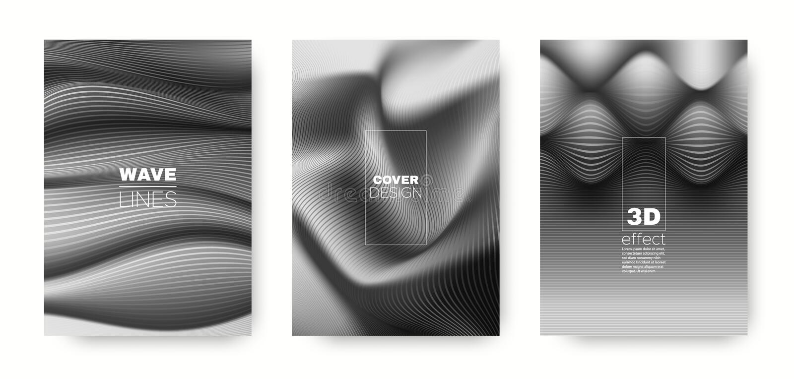 Gray Flow Concept. Design Cover. Business. Brochure. 3d Geometric Linear Texture. Wave Template. Gray Minimal Cover. Business Background. Fluid Concept stock illustration