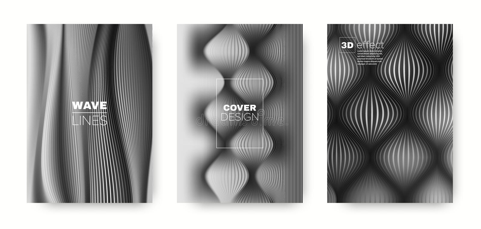 Gray Flow Template. Vector Cover. Dynamic. Brochure. 3d Geometric Linear Texture. Flow Concept. Black Headline Cover. Dynamic Brochure. Flow Concept. Halftone royalty free illustration