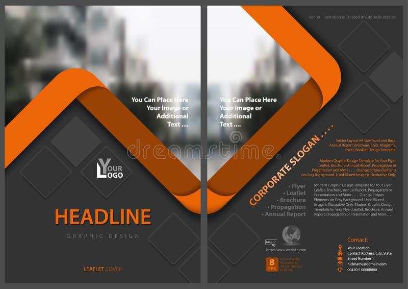 Gray Flyer Template con las rayas anaranjadas stock de ilustración