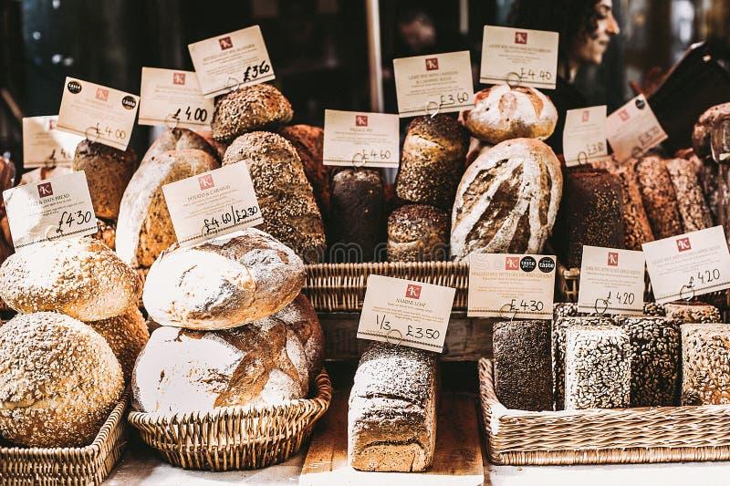 Gray Foods op Wicker Baskets stock afbeelding