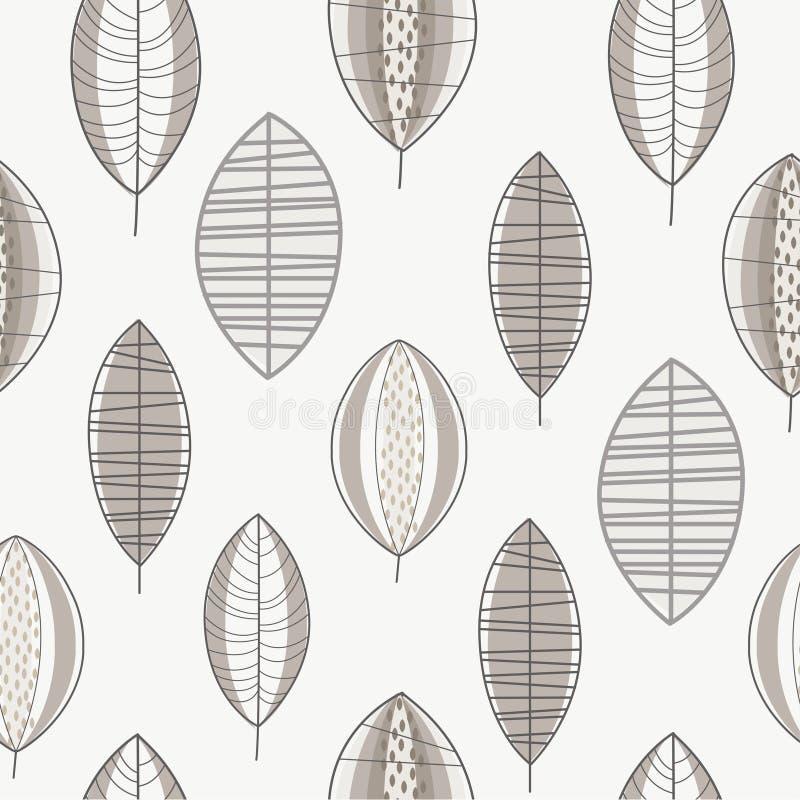 Gray Forest Leaves Seamless Pattern designbest?ndsdel kan anv?ndas f?r tyg, tapeten som f?rpackar vektorillustrationen royaltyfri illustrationer
