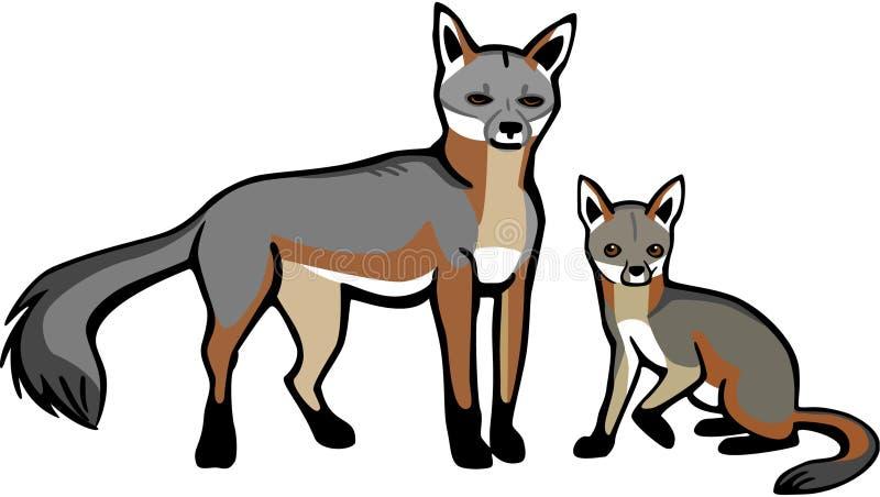 Gray Fox con Cub stock de ilustración
