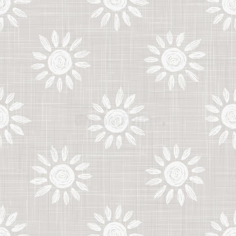 Gray French Linen Texture Background printed with White Daisy Flower. Natural Ecru Flax Fibre Bloom Seamless Pattern. Organic Yarn stock photo
