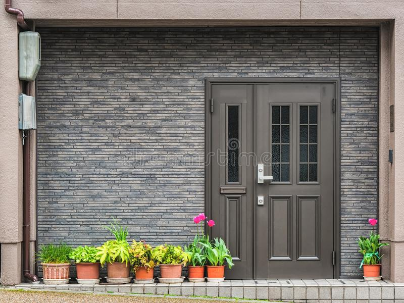 Gray front door with small square decorative windows and flower pots in fron of it. Gray front door with small square decorative windows and tiled concrete wall royalty free stock image