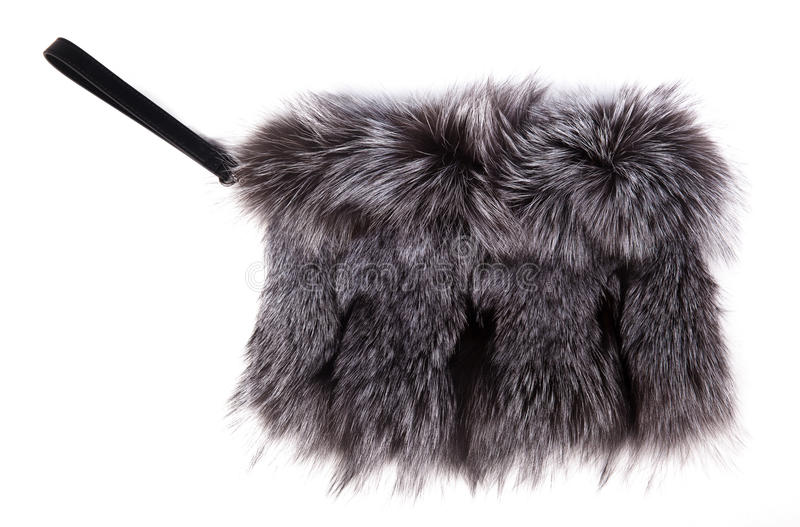 Gray Fur Purse royaltyfri bild