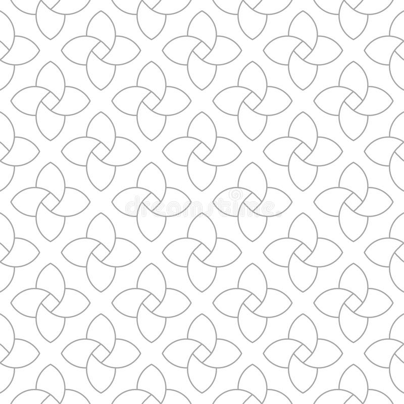 Gray geometric ornament on white background. Seamless pattern vector illustration