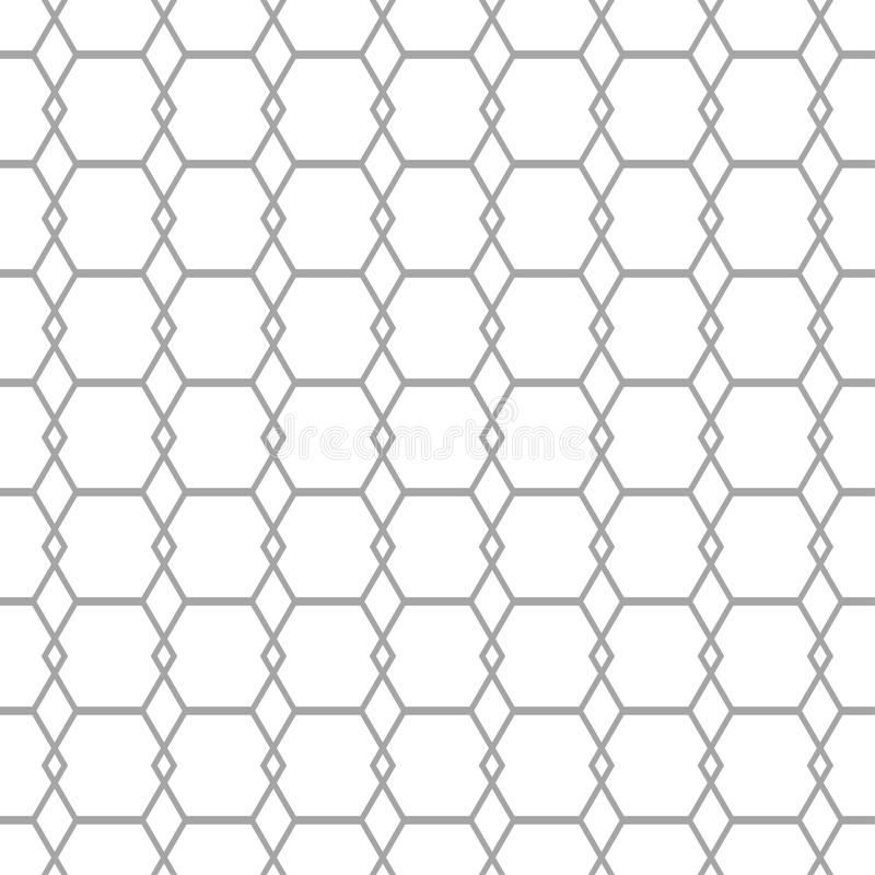 Gray geometric ornament on white background. Seamless pattern royalty free illustration