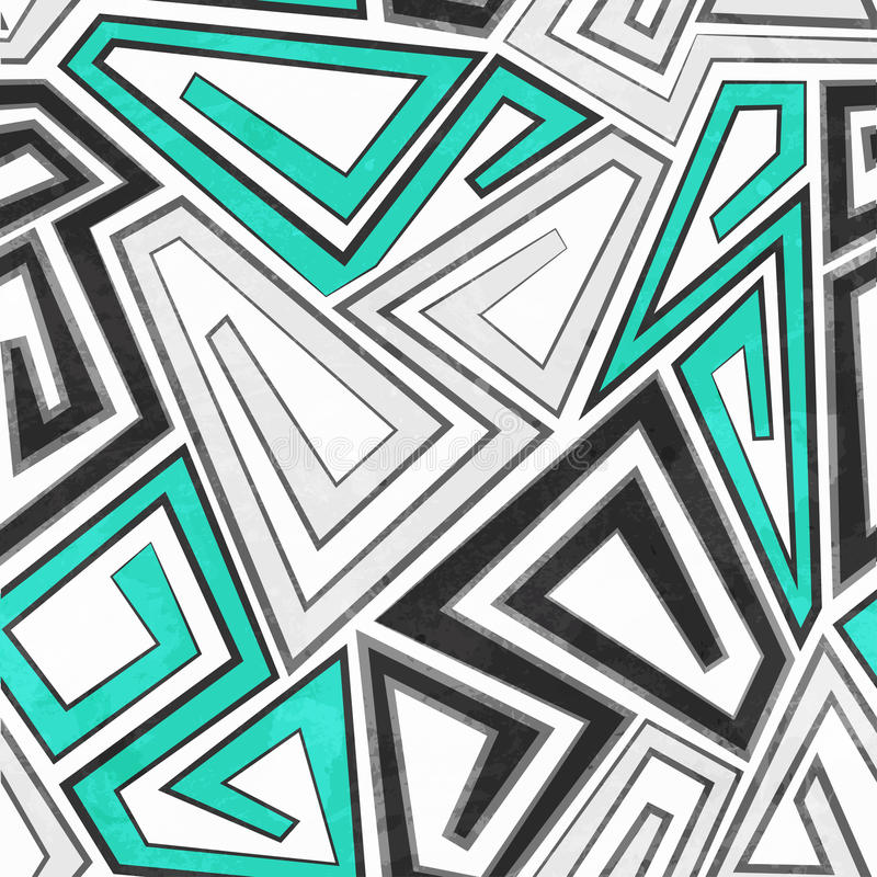 Gray geometric seamless pattern with grunge effect. (eps 10 royalty free illustration