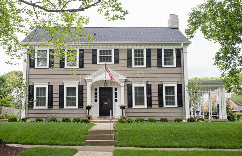 Gray Georgian Colonial Home stock photo