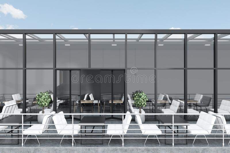 Gray glass roof restaurant with a terrace vector illustration