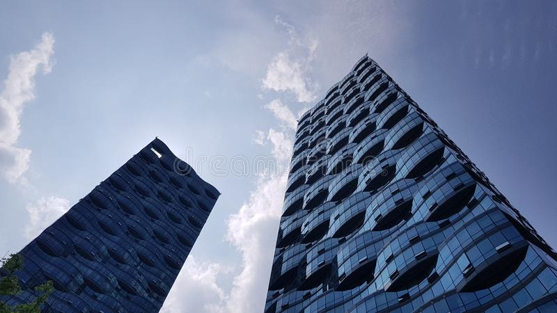 Gray Glass Storage Buildings stock photo