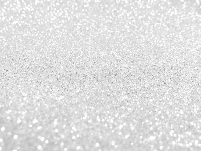 Gray glitter bokeh background, silver shiny star pattern. Grey blink sparkle light banner stock photography