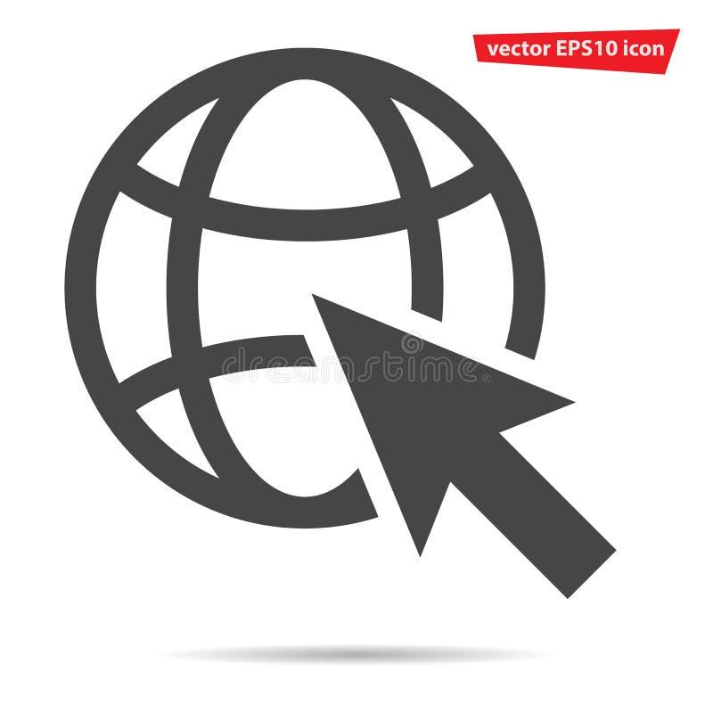 Gray Go al icono del web aislado Pictograma plano moderno, negocio, márketing, concepto de Internet S de moda stock de ilustración