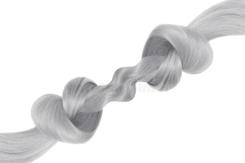 Gray hair knot in shape of heart, isolated on white background. Care concept royalty free stock photos