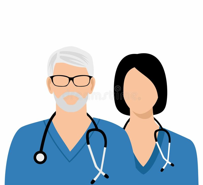 The gray-haired doctor in glasses and Woman doctor with a stethoscope.  stock illustration