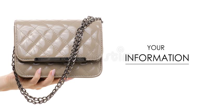 Gray handbag bag in hand pattern. On a white background isolation royalty free stock image