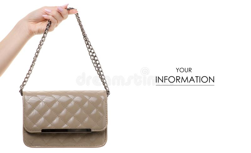 Gray handbag bag in hand pattern. On a white background isolation stock photos