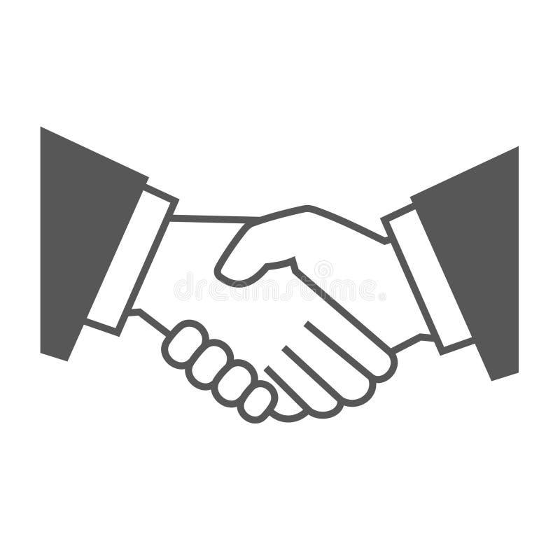 Gray Handshake Icon no fundo branco Vetor ilustração do vetor