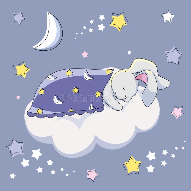 A gray hare under a blue blanket is sleeping on a white cloud on a blue background with stars. vector illustration