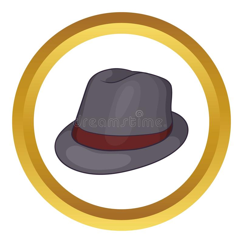 Gray hat icon. In golden circle, cartoon style isolated on white background stock illustration