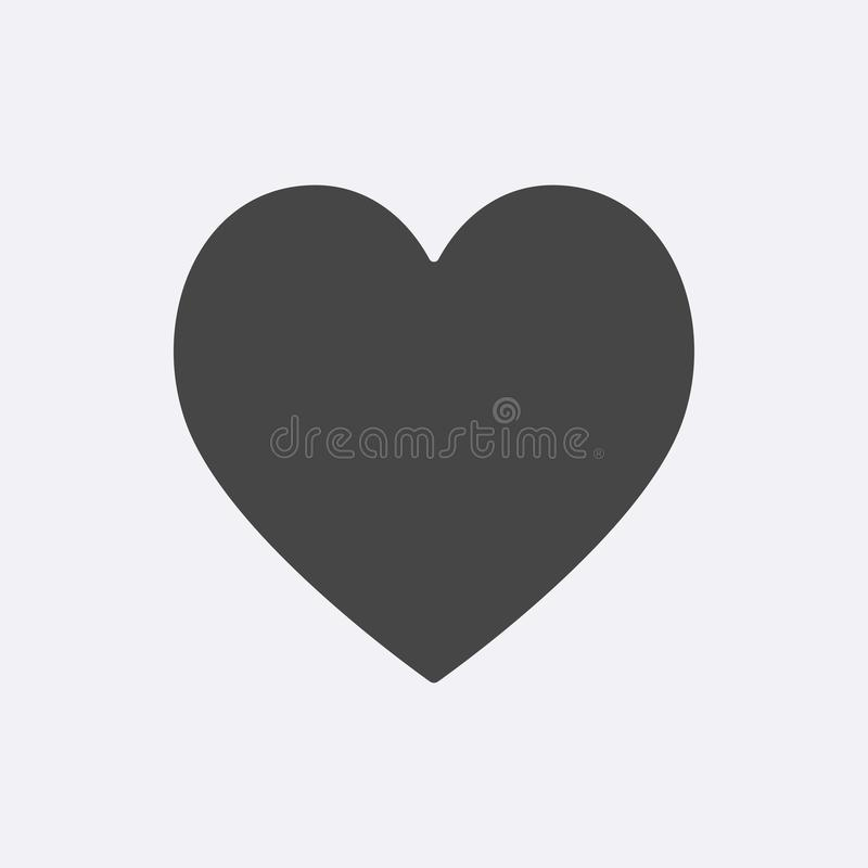 Gray Heart icon isolated on background. Modern flat pictogram, internet concept. Trendy Simple vect stock illustration