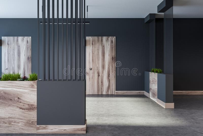 Gray hotel, office or apartment block lobby stock illustration