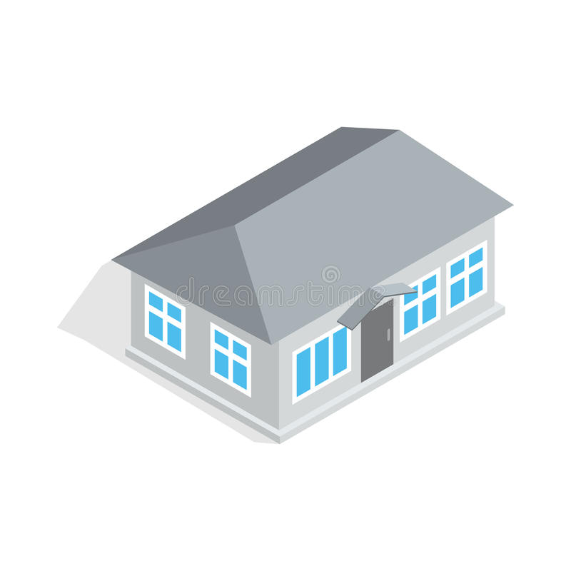 Gray house icon, isometric 3d style. Gray house icon in isometric 3d style isolated on white background. Construction symbol vector illustration