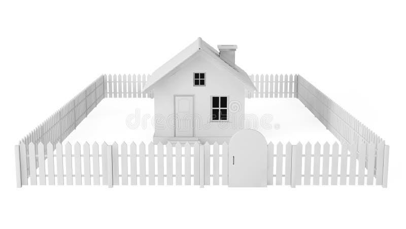 Gray House met Omheining stock illustratie