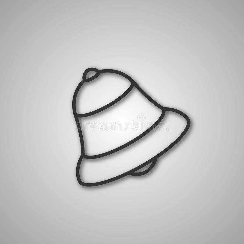 Gray icon bell, vector illustration. Gray icon bell of thin lines with shadow, isolated on white background, vector illustration stock illustration