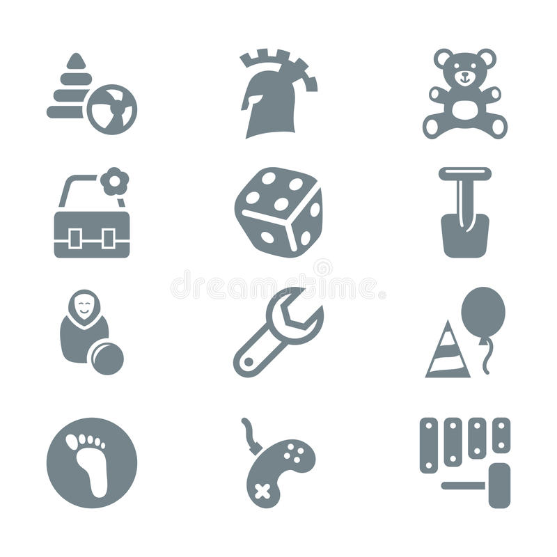 Gray icon set children toys and games. Isolated royalty free illustration