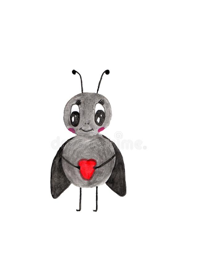 Grey insect with black wings holding a heart in its paws. Gray insect with black wings and antennae, holding a red heart in its paws vector illustration