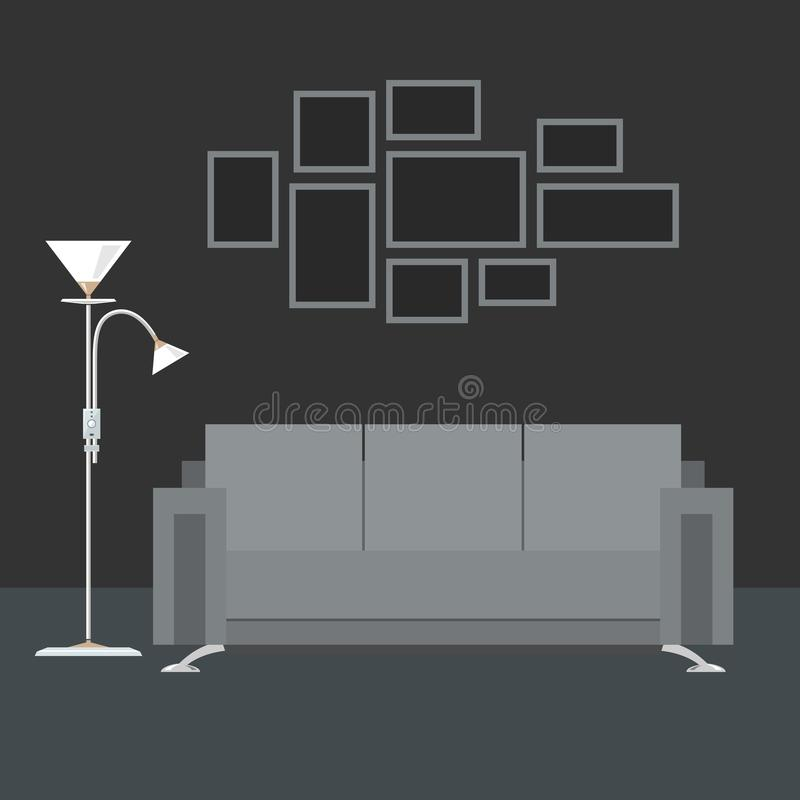 Gray Interior Living Room royalty-vrije illustratie