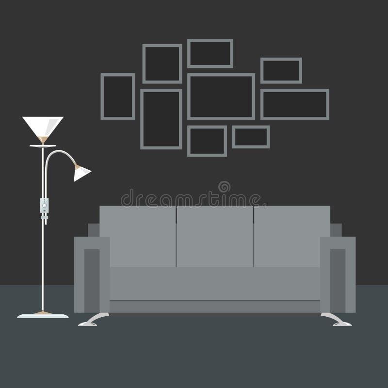 Gray Interior Living Room royalty free illustration