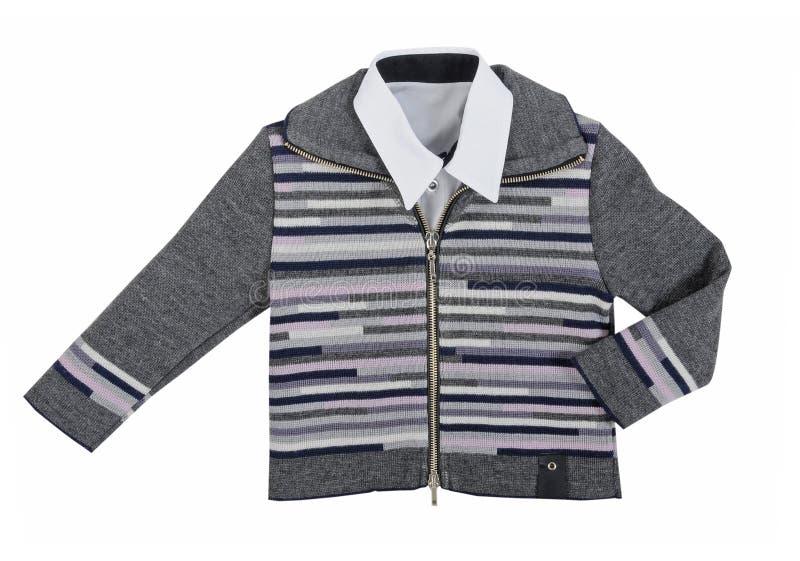 Gray jacket. Isolated on white royalty free stock image