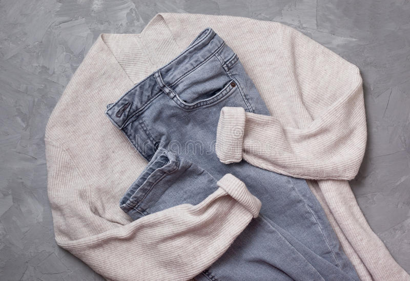 Download Gray Jeans,   Beige Cardigan Stock Photo - Image: 83702704