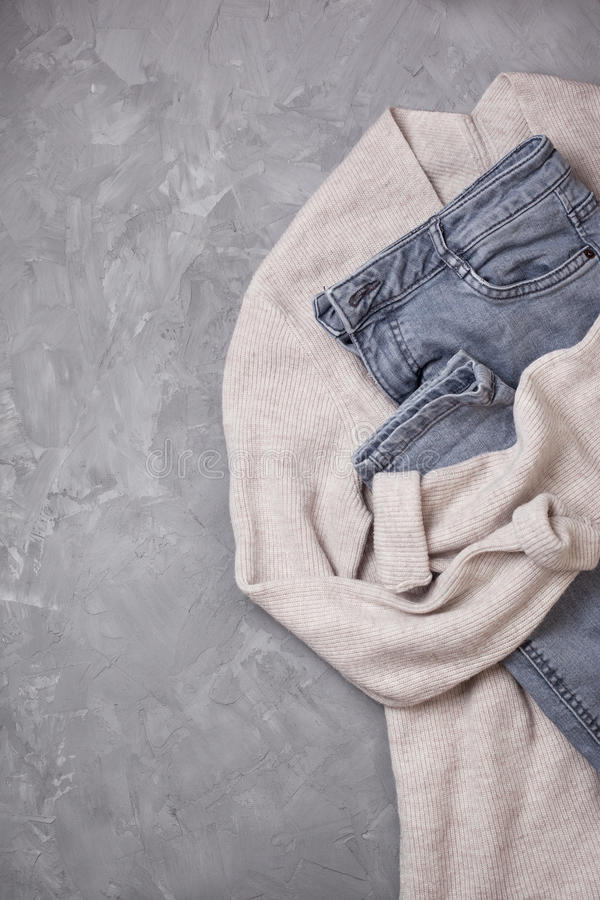 Download Gray Jeans,   Beige Cardigan View From Above Stock Image - Image: 83703105