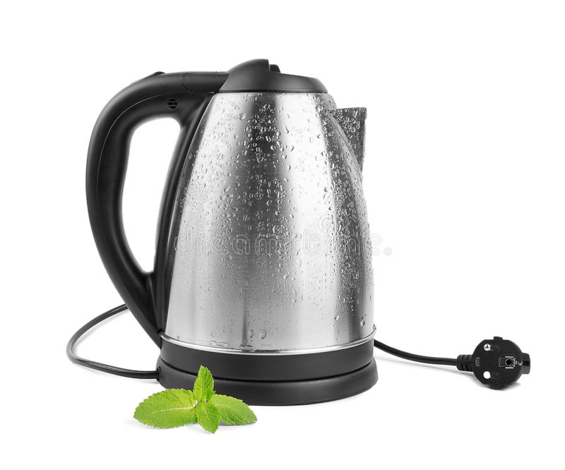 A gray kettle isolated on a white background. An electric steel kettle. Equipment for the house. Household item. Tea with mint. stock photos